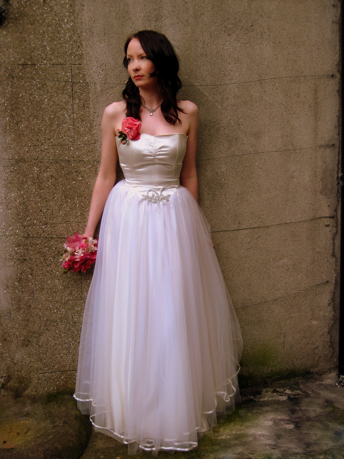 and tulle wedding gown