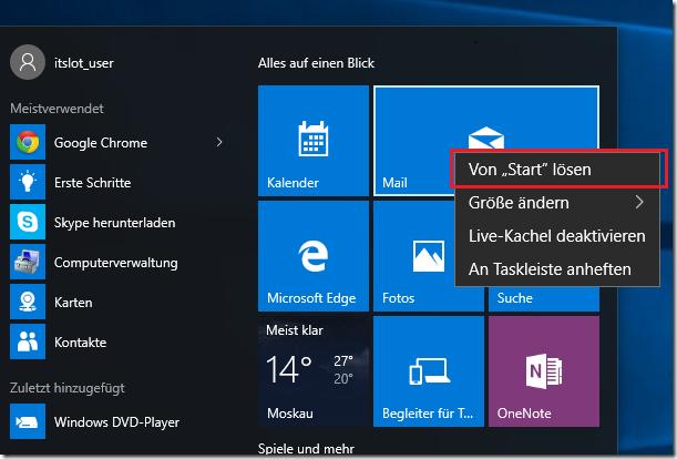 Kacheln unter Windows 10 entfernen