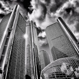 gm by Otto Mercik - Buildings & Architecture Office Buildings & Hotels ( b/w, gm, hdr, buildings, architecture, looking, up, images, sky, open, contest, challenge )