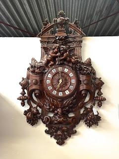 Антикварные настенные часы. Франция ок.1860 г. Резьба, дерево. Высота 100 см.