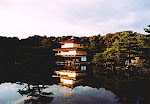 Kinkakuji (Golden Pavilion) at sunset, Kyoto, Japan.