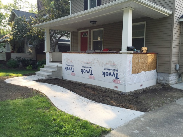 Porch Wrapped in Tyvek