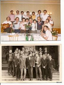 Zgoraj: Srečanje ob 10 letnici mature  Spodaj: Na dan mature, junija 1967