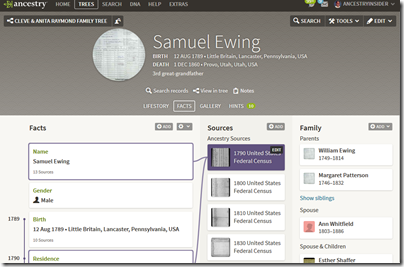 Facts tab of the person page of Ancestry.com