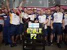 Heikki Kovalainen, Renault R27 celebrates his first F1 Podium with the team