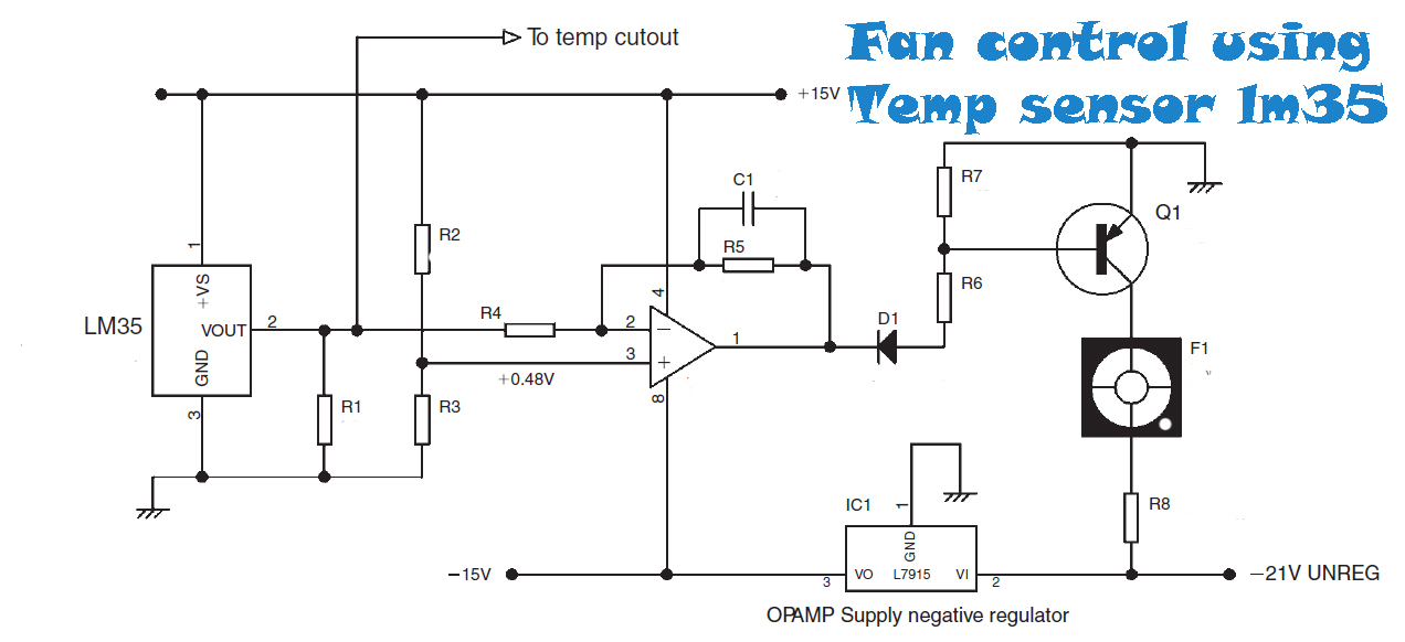 fan control temperature using sensor lm35 ~circuit diagram