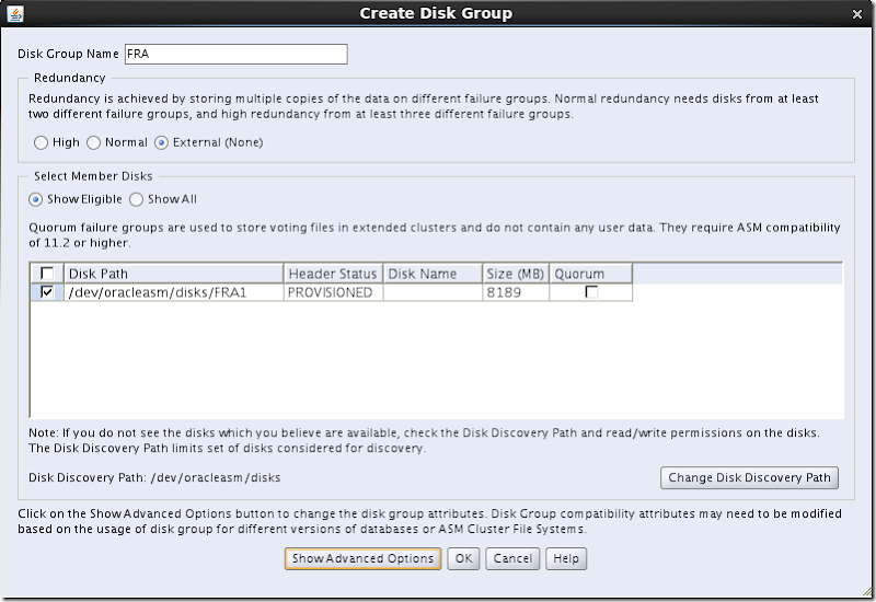 ASMCA Create Disk Groups