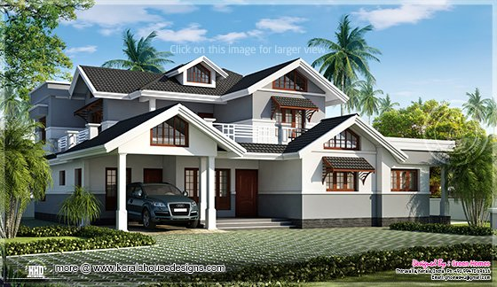 Luxury sloping roof home