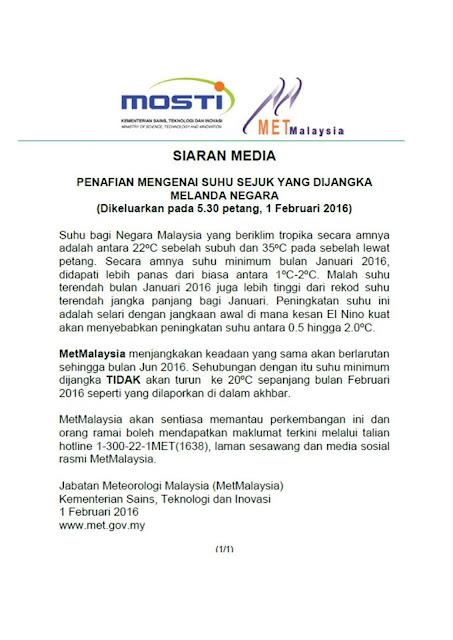 Wordless Wednesday | Penafian Suhu Sejuk di Perak dan Kelantan pihak Jabatan Meteorologi Malaysia telah mengesahkan berita tersebut palsu.