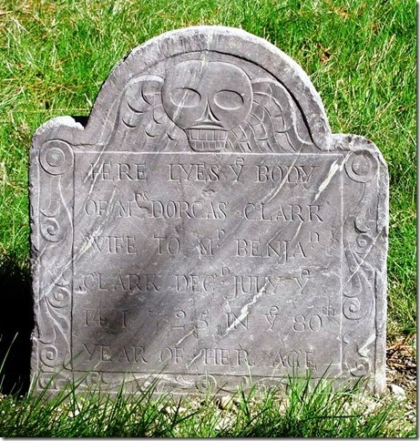 CLARK_Dorcas_headstone_died 1725_VineLakeCem_Medfield_Masschusetts_enh