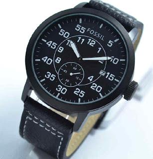 jam tangan  Fossil date chrono second black leather white