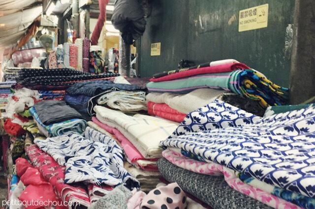 Yen Chow Street market, Sham Shui Po, fabric market Hong Kong - fabric rolls