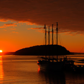 Bar Harbor Sunrise II by Chris Cavallo - Landscapes Sunsets & Sunrises ( orange, maine, ship, bar harbor, ocean, yellow, sunrise, glow, sun, golden hour,  )