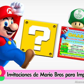 Tarjeta Invitación de Cumpleaños MARIO BROS – Imprimibles Personalizados