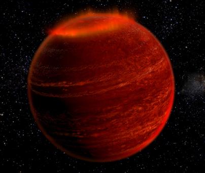 ilustração de uma aurora numa anã marron