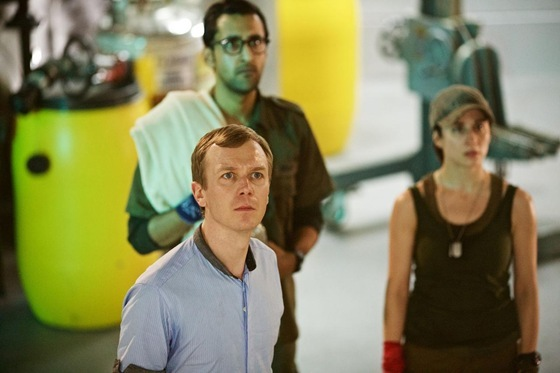 Arsher Ali, Morven Christie and Steven Robertson in Doctor Who Under the Lake