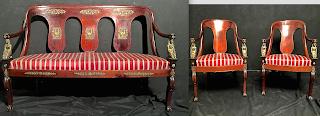Гарнитур в стиле Ампир. ок.1850 г. Диван 140/56/95 см. и два кресла. Красное дерево, бронзовый декор, бронзовые скульптуры. 7500 евро.