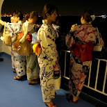 Japanese girls dressed in kimono's at the boat cruise in Tokyo, Tokyo, Japan