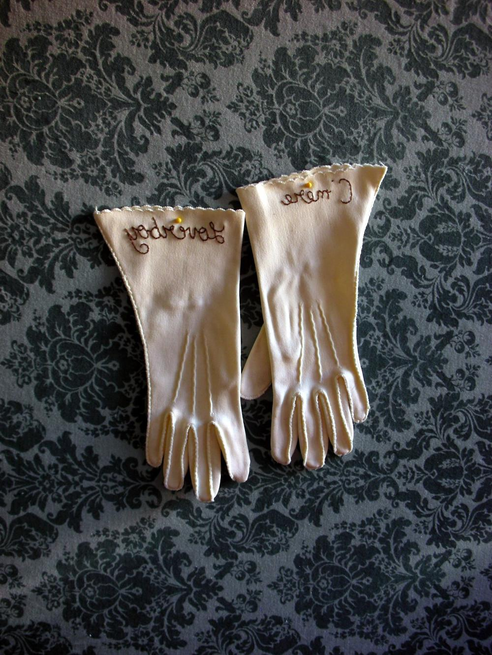 Vintage white gloves in