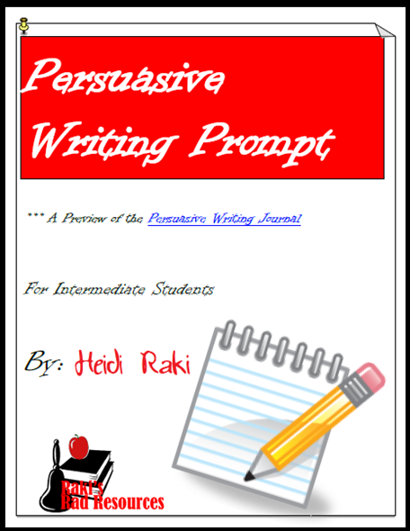 Free persuasive writing prompt that takes students through brainstorming, drafting, editing and revising while working on the persuasive writing genre. Free download from Raki's Rad Resources.