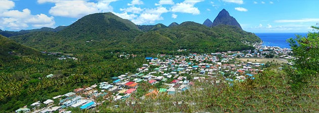 A view of Soufriere, Saint Lucia
