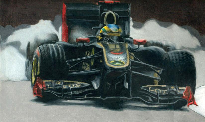картина Бруно Сенна за рулем Lotus Renault by Kalmekgc182
