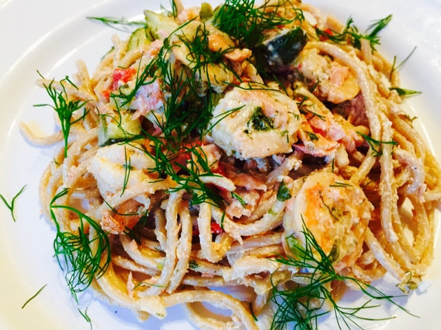 Lemony prawn, smoked salmon and dill pasta