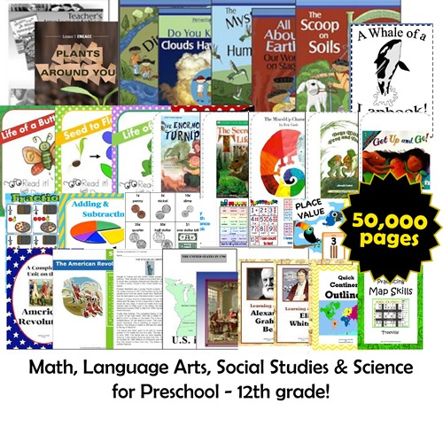 50,000 pages of math, language arts, science, and social studies worksheets for kids at CHSH