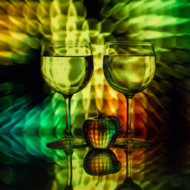 by Lisa Hendrix - Artistic Objects Other Objects ( reflection, colorful, apple, green, artistic, yellow, wine glasses, light )