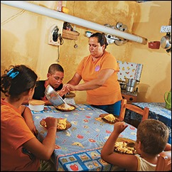 família à mesa pobreza