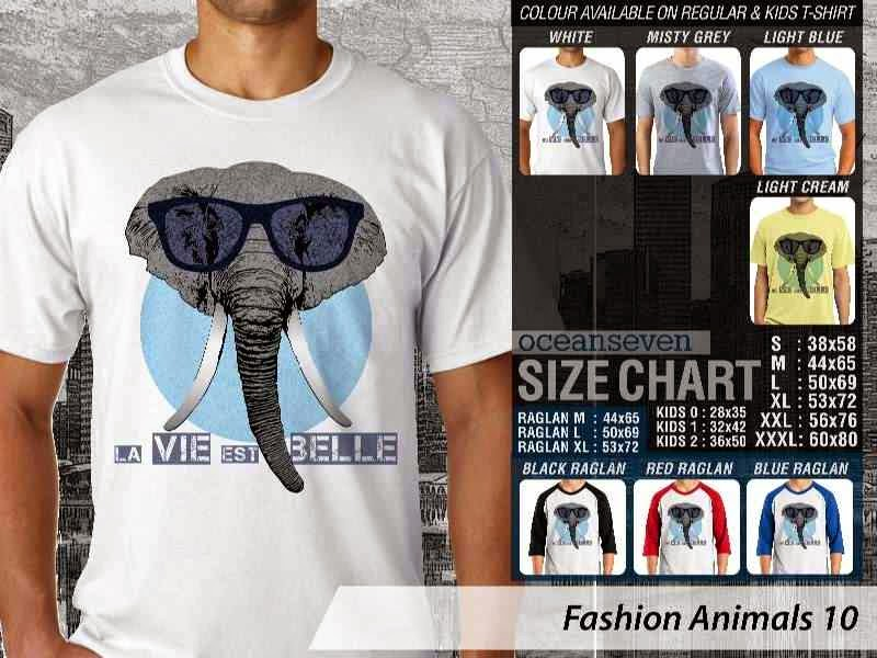 Kaos Fashion Animals 10 Binatang Gajah Elephant distro ocean seven