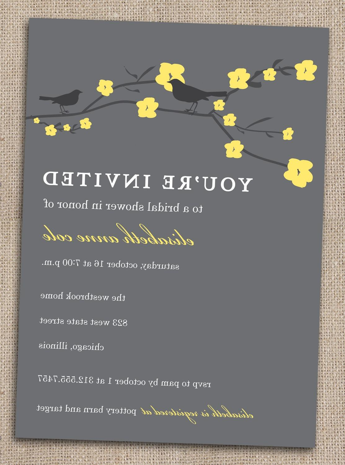 Cherry Blossoms and Sparrow Love Birds DIY Bridal Shower Invitations