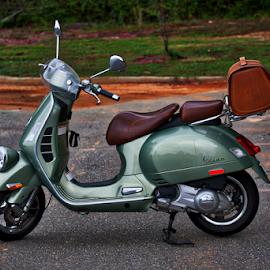 A Classic Vespa by Liam Douglas - Transportation Motorcycles ( italian, vespa, green, 2-wheels, brown, transportation, leather, black, scooter )