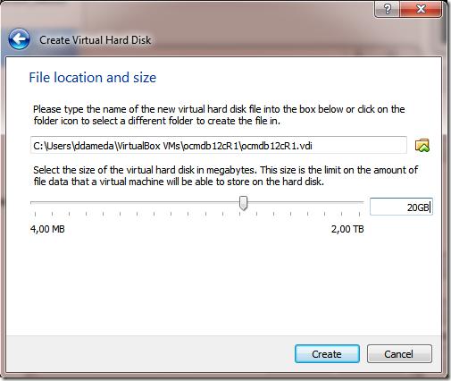 Create VM Machine new Harddisk - Select Size