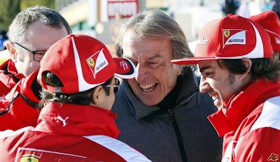 Фелипе Масса, Лука ди Монтедземоло и Фернандо Алонсо смеются на Wrooom 2012