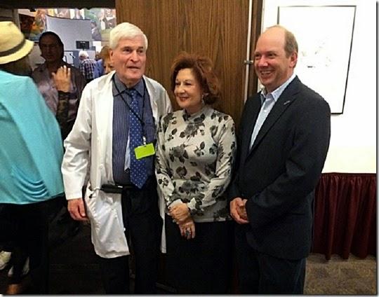 L-to-R-  Dr. Charuzi, Esther Blau, E. Randol Schoenberg
