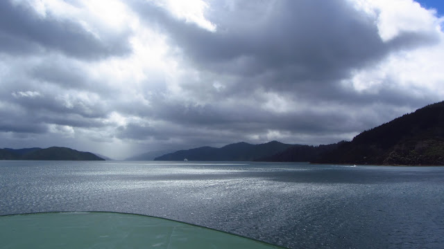 Going through the Marlborough Sounds on the Interislander Ferry.