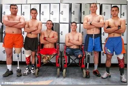 Soldados colombianos con y sin discapacidad