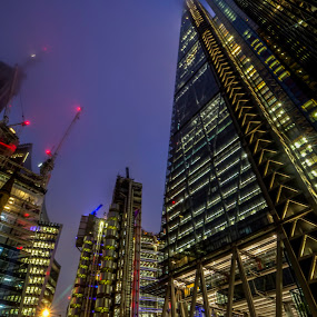 Reach for the skies by Corin Spinks - Buildings & Architecture Other Exteriors ( london, offices, street, buildings, night, crane, hotel,  )
