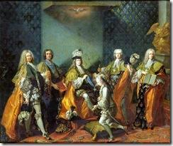 718px-Van_Loo_-_Louis_XV_remettant_le_cordon_de_l'ordre_du_Saint-Esprit_au_comte_de_Clermont_dans_la_chapelle_de_Versailles,_3_juin_1724