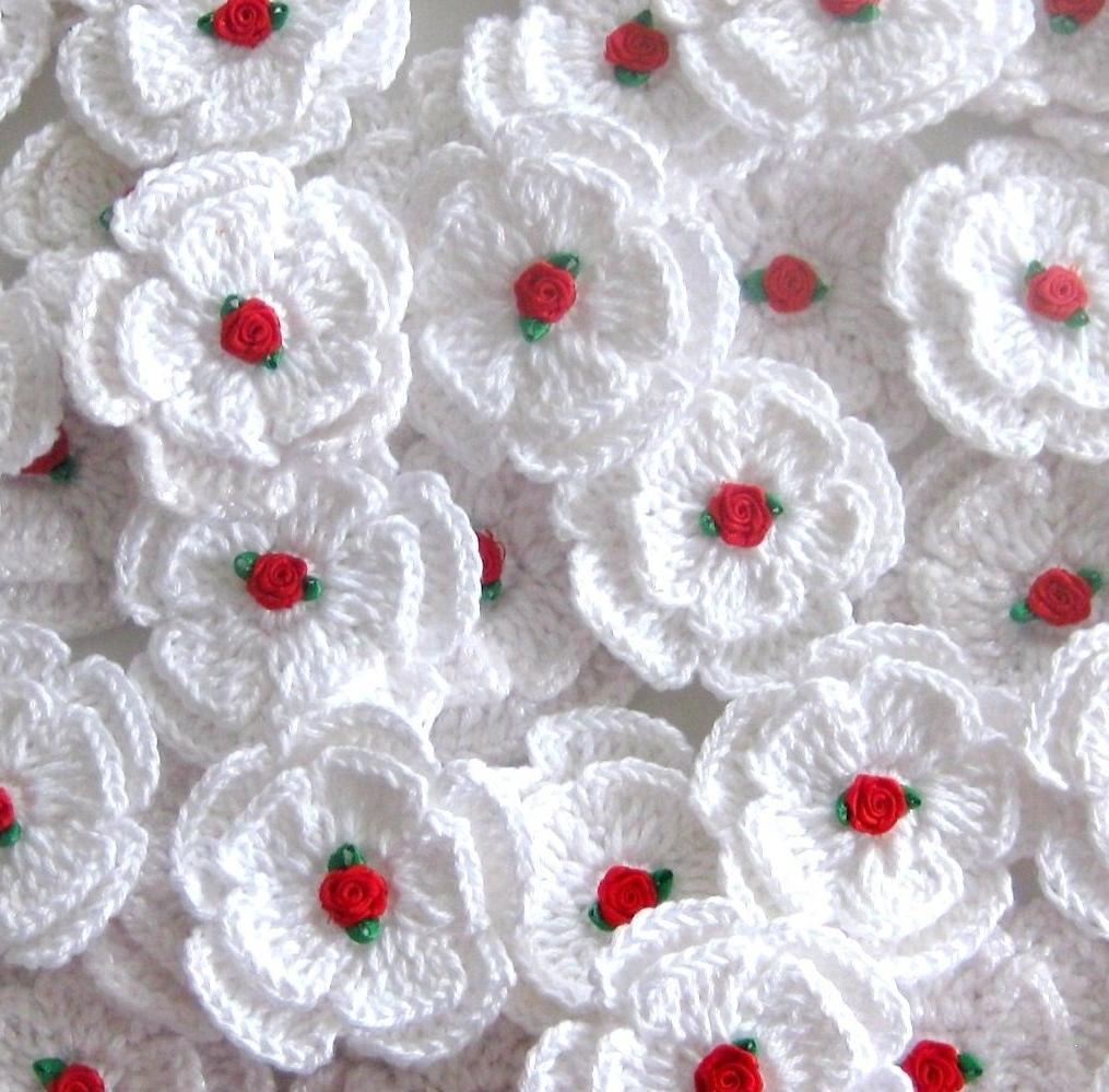 Wedding Accesories Fairytale Crochet Flowers,Applique 5-pieces