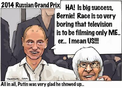 Владимир Путин доволен скучной гонкой в Сочи - комикс Bruce Thomson по Гран-при России 2014