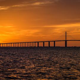 Skyway Sunrise! by Ken Wagner - Buildings & Architecture Bridges & Suspended Structures ( sigma, florida, bridge, sunrise, sunshine skyway, nikon, tampa bay )