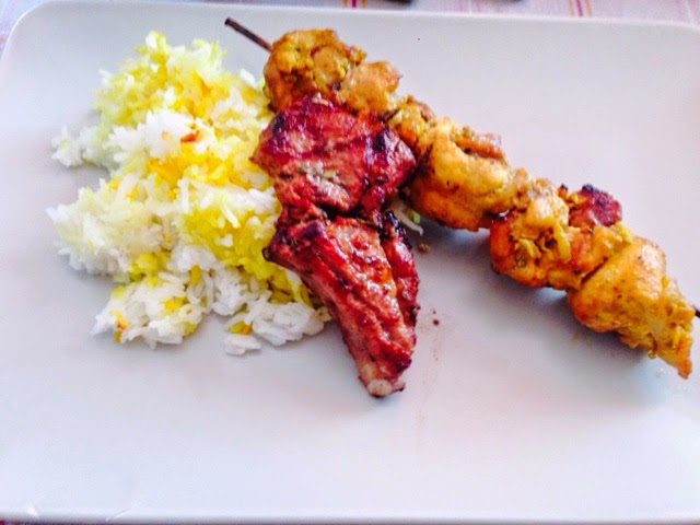 Persian mixed grill of lamb and chicken with basmati rice