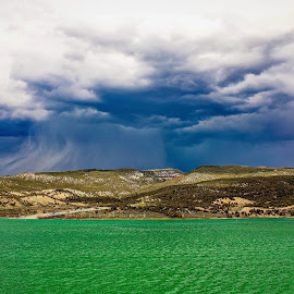 Rifle Gap State Park by Tony Bendele - Landscapes Travel ( water, mountain, thunderstorm, colorful, colors, colorado, lake, storm, landscape, nature, color, outdoors, state park )