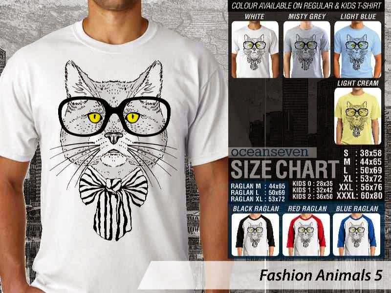 Kaos Fashion Animals 5 Binatang Kucing Cat distro ocean seven