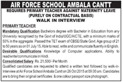 Air Force School Ambala Cantt Vacancy 2015