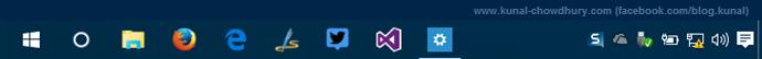 Windows 10 SysTray without clock (www.kunal-chowdhury.com)