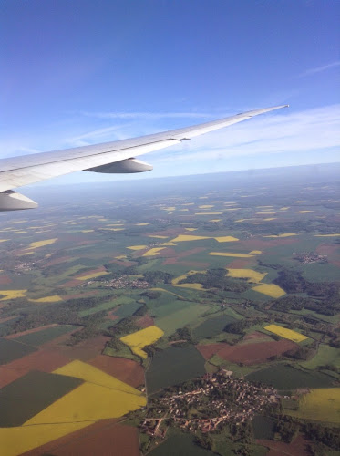 view of French farm fields from the air
