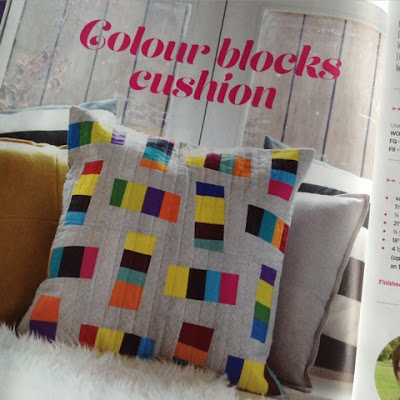 Colour Block improv cushion featured in Issue 14 of Quilt Now